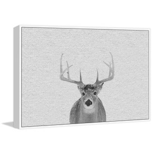 """Marmont Hill MH-PEKABO-8929-WFFDL-18  12"""" x 18"""" - """"Serious Deer"""" Framed Giclee Print on Canvas - Gray"""