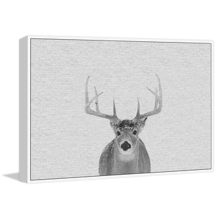 """Marmont Hill MH-PEKABO-8929-WFFDL-24  16"""" x 24"""" - """"Serious Deer"""" Framed Giclee Print on Canvas - Gray"""