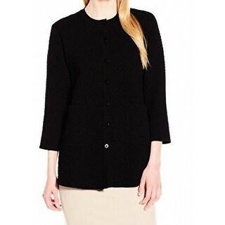 Anne Klein NEW Black Textured Women's Size Large L Topper Cardigan