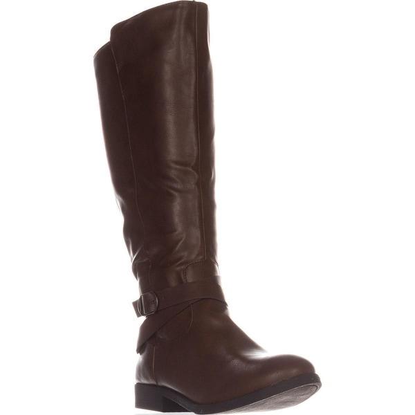 SC35 Madixe Wide-Calf Riding Boots, Cognac