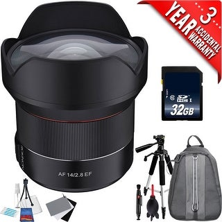 Rokinon AF 14mm f/2.8 Lens for Canon EF IO14AF-C + 32GB SDHC Class 10 Memory Card + 3Piece Digital Grey Balance Cards Set Bundle