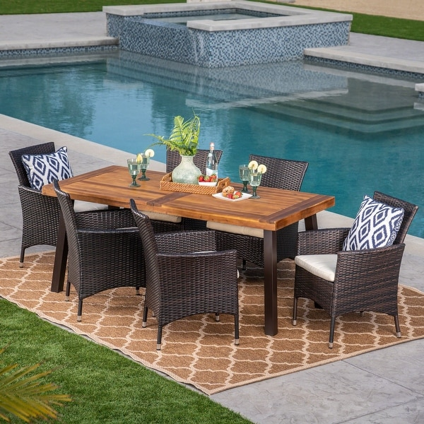 Tustin Outdoor 7-piece Acacia/Wicker Dining Set by Christopher Knight Home. Opens flyout.