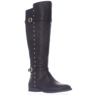 I35 Ameliee Wide Calf Knee High Side Studded Boots - Black