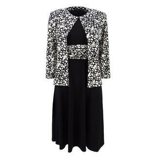 Jessica Howard Women's Petite Midi Dress & Printed Jacket - Black/Ivory