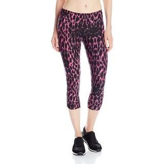 Kensie NEW Pink Women Size Large L Capris Cropped Stretch Leopard Pants