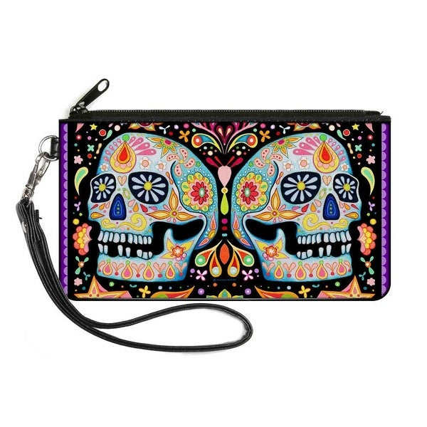 Twin Calaveras Floral Collage Black Multi Color Canvas Zipper Wallet