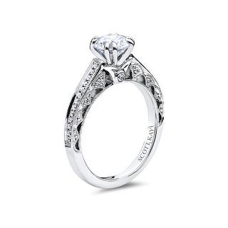 14kt White Gold Ladies 0.15CT Semi Mount 3 Diamonds Sides with Milgrain Design from the Heaven's Gate Collection by Scott Kay