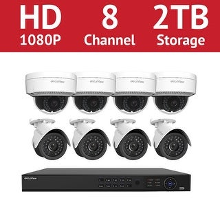 LaView 8 Channel 1080p IP NVR with (4) 1080p Bullet Cameras and (4) 1080p Dome Cameras and a 2TB HDD
