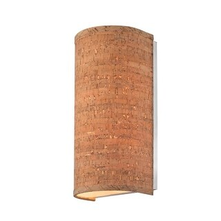 """Dolan Designs 280 Naturale 2 Light 14"""" Tall Single Half Cylinder Wall Sconce with Cork Shade"""