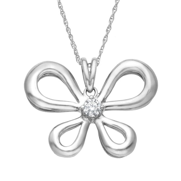 1/5 ct Diamond Butterfly Pendant in Palladium