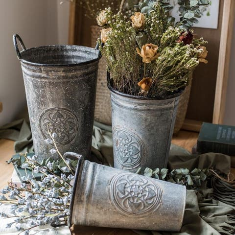 RusticReach Antique Floral Carving Iron Flower Pot