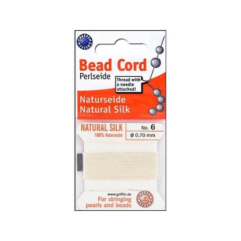 Beadalon Griffin 100% Silk Bead Cord Sz6 2M Wht