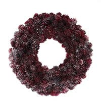"12.5"" Wine Burgundy Glitter Pine Cone Artificial Christmas Wreath - Unlit"