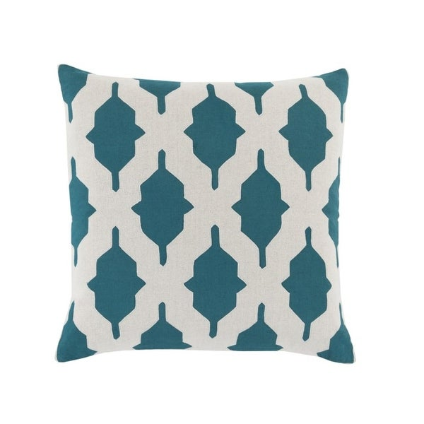 "22"" Teal Blue and Gainsboro Gray Geometric Decorative Square Throw Pillow"