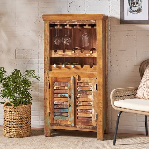 Laverock Boho Handcrafted Wooden Bar Cabinet by Christopher Knight Home