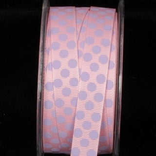 "Pink and Purple Polka Dot Pattern Grosgrain Craft Ribbon 5/8"" x 108 Yards"