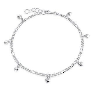 Bling Jewelry 925 Sterling Silver Dangling Hearts Ankle Bracelet 10in