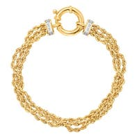 Just Gold Three-Row Rope Chain Bracelet with Diamonds in 14K Gold