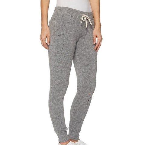 Alternative Gray Womens Small S Drawstring Jogger Distressed Pants