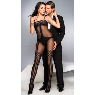 Opaque Teddy And Thigh Highs Bodystocking, Sheer Bodystocking