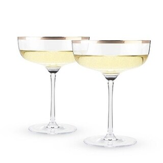 10 oz Old Kentucky Home Copper Rim Crystal Coupe Set, Clear -