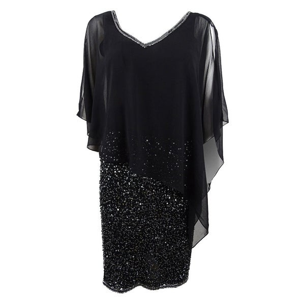 J Kara Women's Embellished Capelet Dress. Opens flyout.
