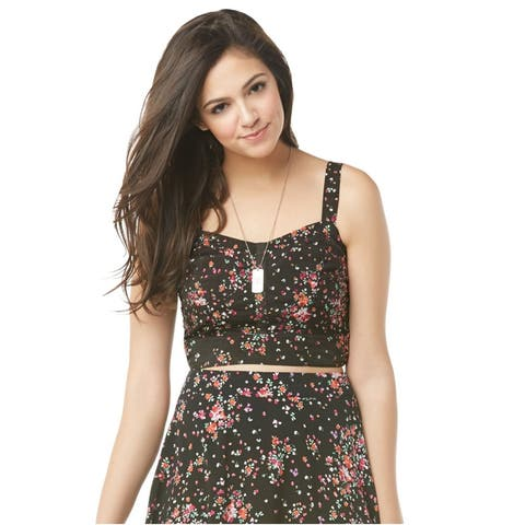 Aeropostale Womens Floral Bustier Blouse