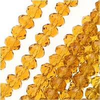 Topaz Color Glass Faceted Rondelle Beads 3x4mm (12.5 Inch Strand)