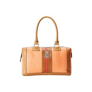 U.S. Polo Assn. Womens Monty Faux Leather Lined Satchel Handbag - orange combo - Medium