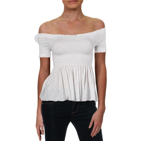 Michelle by Comune Womens Peplum Top Off-The-Shoulder Smocked