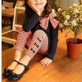 Bow and Striped Girls Pants Set