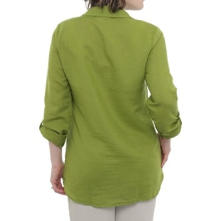 Splendid 3/4 Sleeve Mixed Media Top Women Regular Blouse