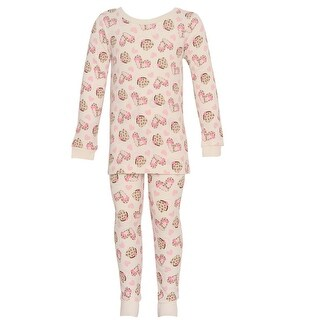 Vitamins Kids Little Girls Ivory Heart Shoe Pattern 2 Pc Pajama Set 2-4T