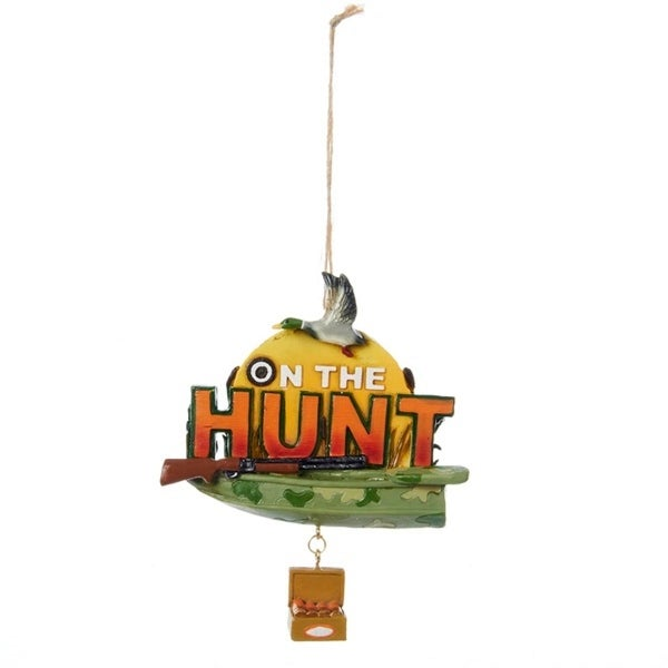 On the Hunt Duck Hunting Season Sign Christmas Ornament 4.5""