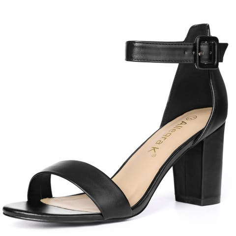 Woman Open Toe Chunky High Heel Ankle Strap Sandals - Black