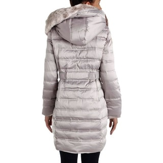 DKNY Womens Down Faux Fur Parka