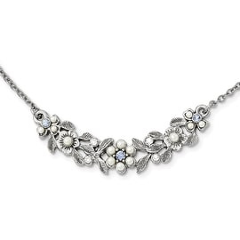 Silvertone Downton Abbey Blue Crystal Acrylic Pearl Necklace - 16in