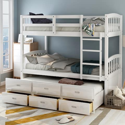 Taylor & Olive Freesia Twin-over-Twin Bunk Bed with 3-drawer Trundle