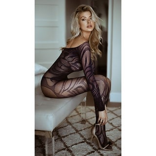 Hoty Midnight Swirl Bodystocking, Long Sleeve Sheer Bodysuits - One Size Fits Most