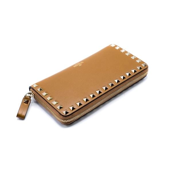 Valentino Womens Gold Rockstud Leather Brown Zip-Around Wallet