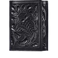 3D Western Wallet Mens Leather Trifold Embossed Floral - One size