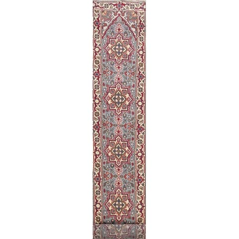 "Geometric Indian Heriz Oriental Long Runner Rug Wool Hand-knotted - 2'6"" x 19'3"""