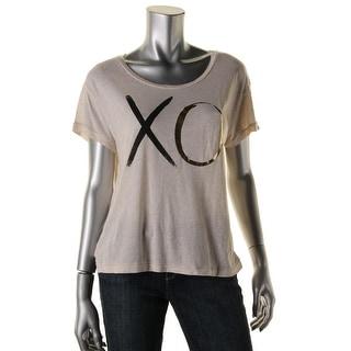 Sundry Womens Graphic Metallic T-Shirt
