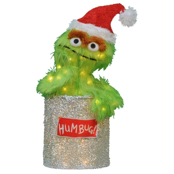 "18"" Sesame Street Oscar the Grouch Christmas Outdoor Decoration - Clear Lights - green"