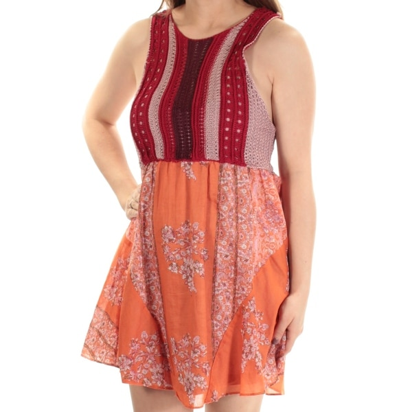 749ea4903e88 Shop FREE PEOPLE Womens Orange Floral Sleeveless Jewel Neck Above The Knee  Fit + Flare Dress Size  XS - Free Shipping On Orders Over  45 - Overstock -  ...