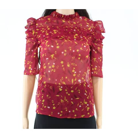Chelsea28 Womens Blouse Red Size XXS Mock Neck Sheer Pleated Floral
