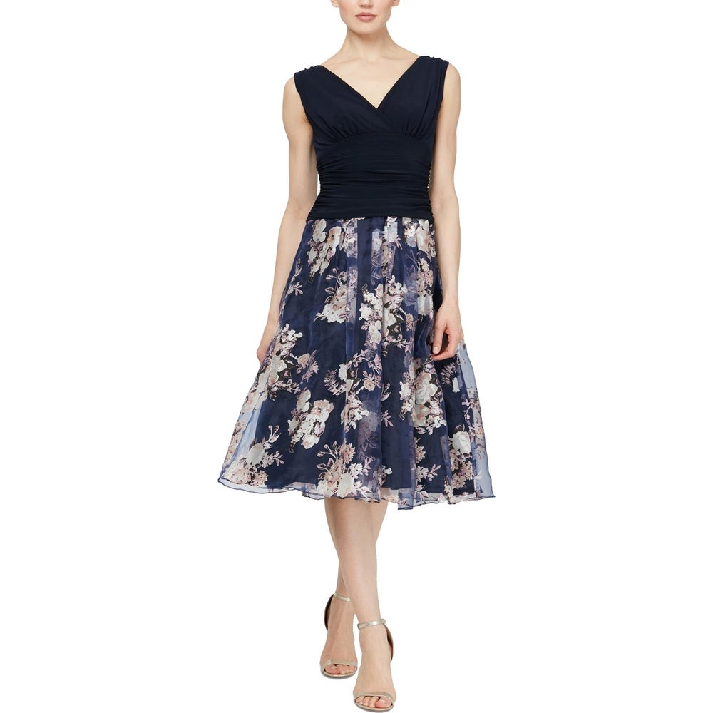 SLNY Womens Party Dress Ruched Floral Print - Navy Multi