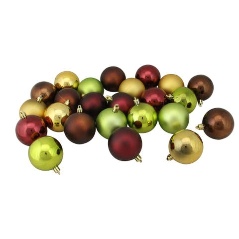 """24ct Brown and Green Shatterproof 2-Finish Christmas Ornaments 2.5"""""""