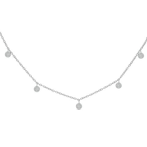 "Cali Trove 1/10ct Round White Diamond 925 Sterling Silver Dangle Cluster Choker Necklace 16""+2"" Extender Chain"
