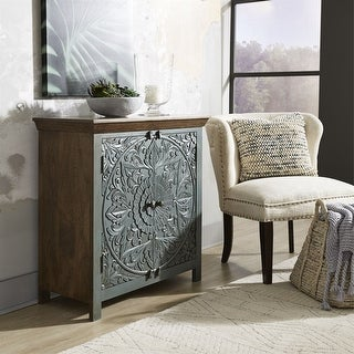 Sahana Warm Nutmeg with Teal 2-door Accent Cabinet